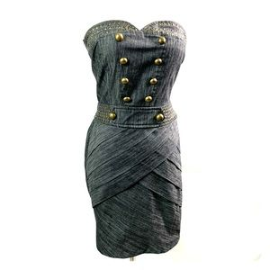 Black denim dress with Gold Rivets and Buttons